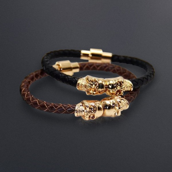 Double Skull and Leather Bracelet