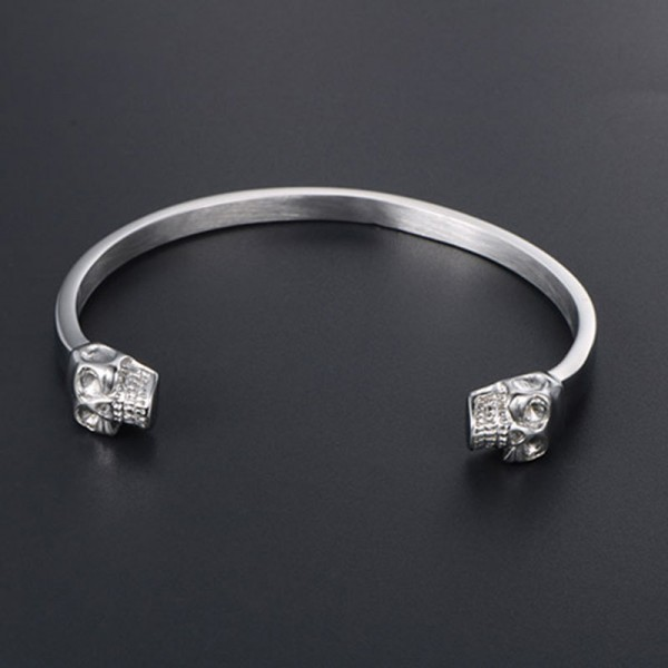 Double Skull Steel Bangle