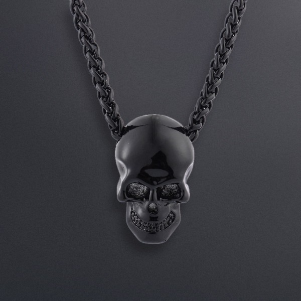 Black Metal Skull Pendant and Chain